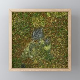 Old stone wall with moss Framed Mini Art Print