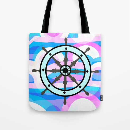 Ship's wheel on abstract marine background Tote Bag