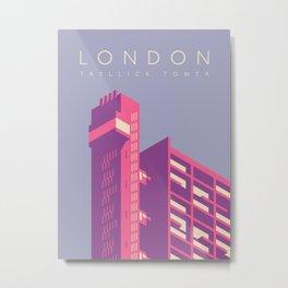 Trellick Tower London Brutalist Architecture - Text Lavender Metal Print