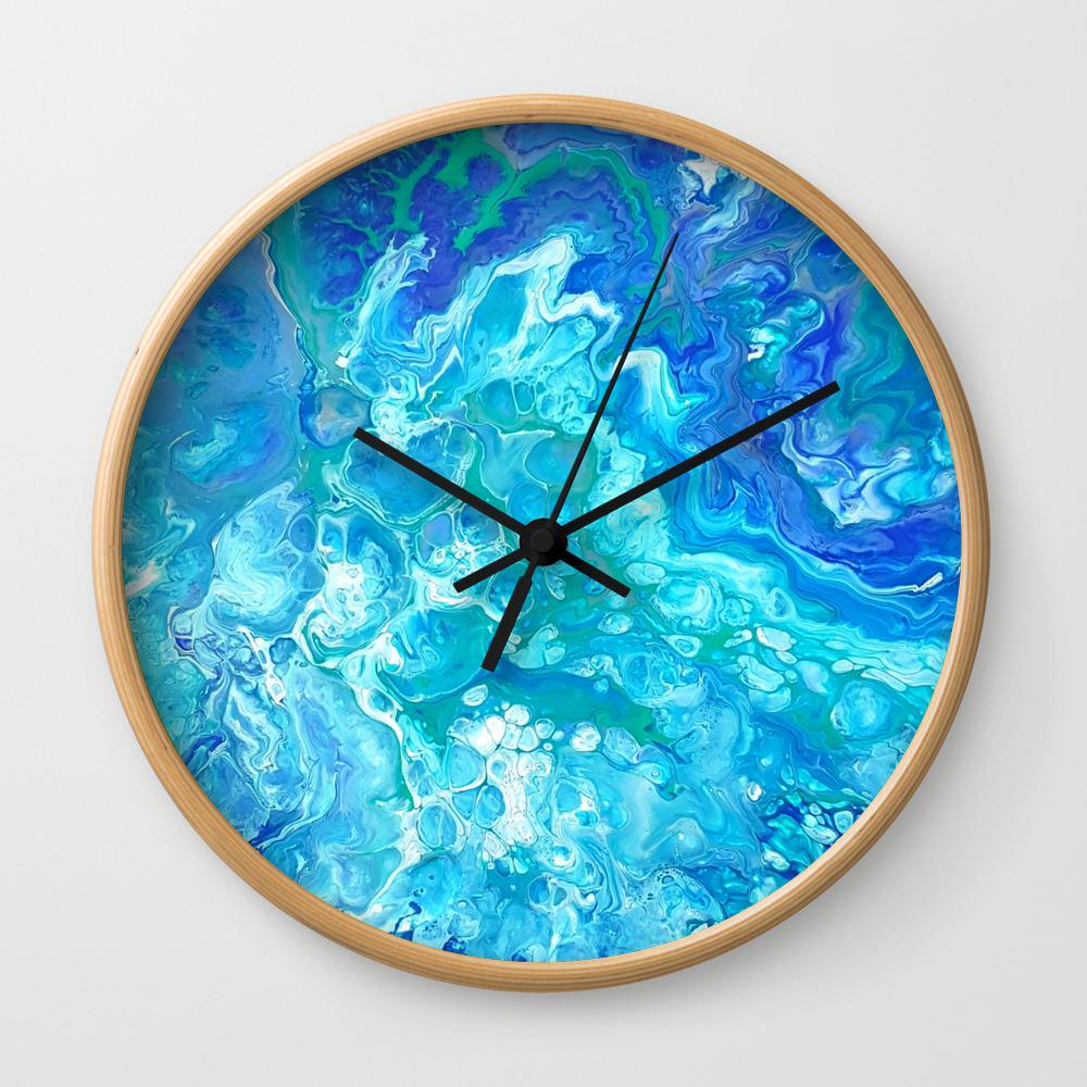 Aqua Ocean Blue Wall Clock by madhattersdiary