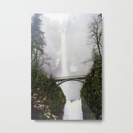 Multnomah Falls in Fog (Winter) Metal Print