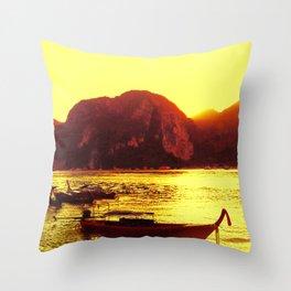Thailand Koh Samui Boat Trip Travel Sunset Throw Pillow