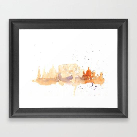 Watercolor landscape illustration_Rome - Colosseum Framed Art Print