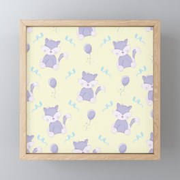 Happy Birthday Purple Fox on Yellow Background Pattern Framed Mini Art Print