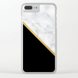Marble, Black, White, Gold, Abstract Color Block Clear iPhone Case