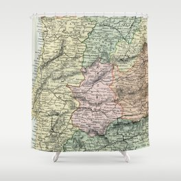 Spain and Portugal Vintage Map Shower Curtain