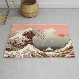Japanese red sunset tsunami Rug
