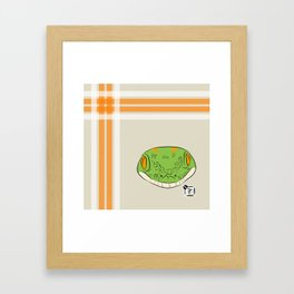 Green Gecko Plaid Framed Art Print