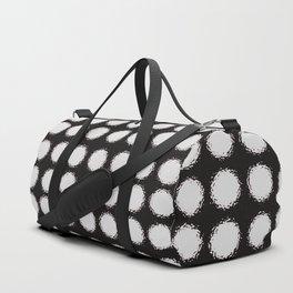 Milk Glass Polka Dots Black And White Duffle Bag