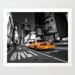 Manhattan nite taxi  Art Print