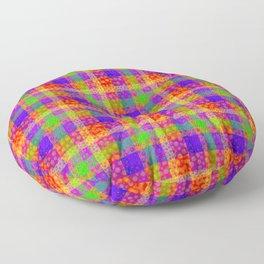 Rainbow Bubbles Tartan Pattern Floor Pillow