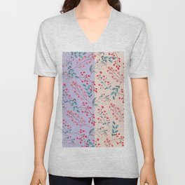 Hand painted watercolor red coral lilac floral pattern Unisex V-Neck
