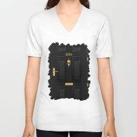 221b V-neck T-shirts featuring 221b Baker Street by Andrian Kembara
