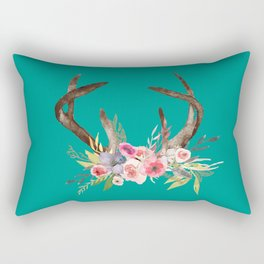 Deer Antlers with flowers Rectangular Pillow