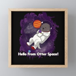 Otter Astronaut In Outer Space Framed Mini Art Print