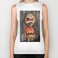 charlie brown Biker Tanks featuring You're a zombie Charlie Brown by byron rempel