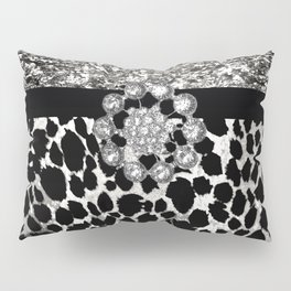 Animal Print Leopard Glam Silver and Black Diamond Pillow Sham