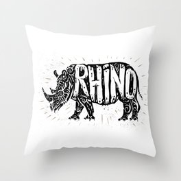 Rhino in tribal style Throw Pillow