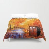 marauders Duvet Covers featuring Tardis Autumn Art Painting by Kesen