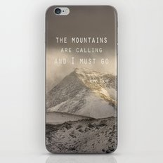 The Mountains are calling, and I must go.  John Muir. Vintage. iPhone & iPod Skin
