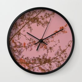 Pink Sunset Tree Abstract Wall Clock