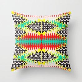 Tribal Beat Geo Neon Throw Pillow