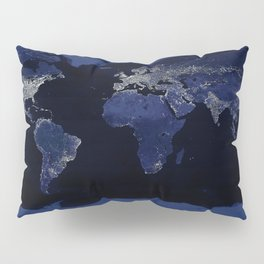 Earth at Night with the lights of most populated cities Pillow Sham