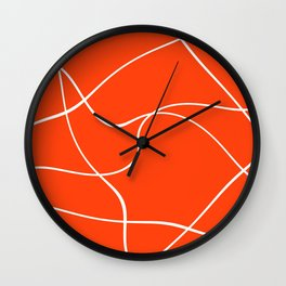 """Abstract lines"" - White on orange Wall Clock"