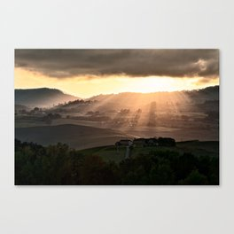 Sunset in Val d'Orcia, Tuscany Italy Canvas Print