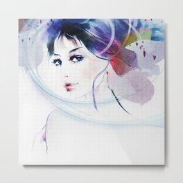 Watercolor Beautiful Girl V2 Metal Print