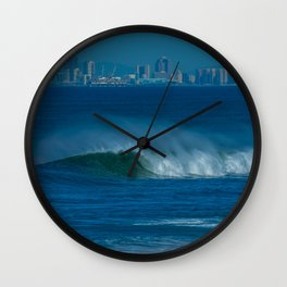 Surf and the City (vert) Wall Clock