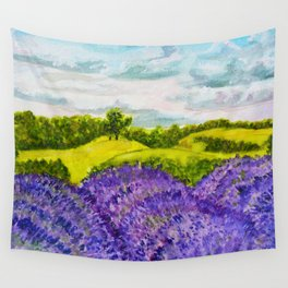 Lavender Fields Watercolor Wall Tapestry