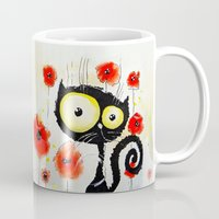 poppies Mugs featuring Poppies  by Katja Main
