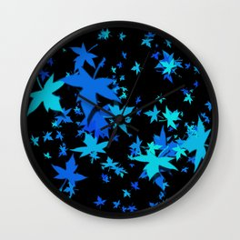 Fall Leaves in Blue Wall Clock