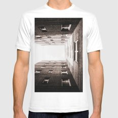 New York City Brown Brick Apartment Building, NYC Urban Queens White MEDIUM Mens Fitted Tee