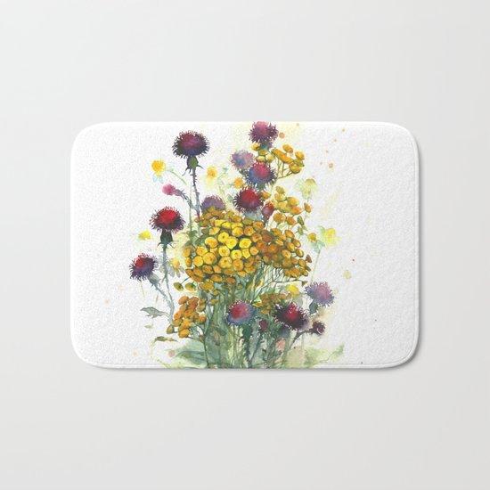 Watercolor wildflowers, aquarelle Bath Mat