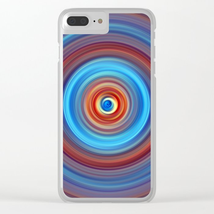 Vivid Blue and Orange Swirl Clear iPhone Case