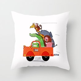 Escape from the Zoo! Throw Pillow
