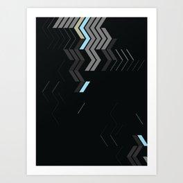 Deconstructed Chevron C – Gray / Gold / Blue Abstract Pattern Art Print