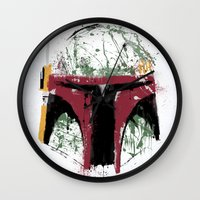 boba Wall Clocks featuring Boba by Purple Cactus