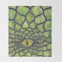 Dragon Eye Green Throw Blanket