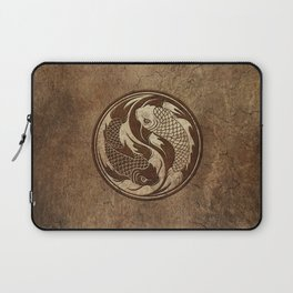 Yin Yang Koi Fish with Rough Texture Effect Laptop Sleeve