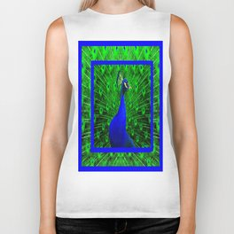 Decorative Blue Peacock Displaying Green-Chartreuse Art Biker Tank