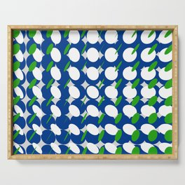 elipse grid pattern_blue, green Serving Tray