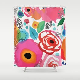 Abstract Floret Shower Curtain