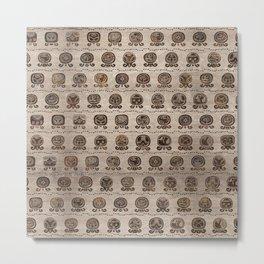 Maya Calendar Glyphs pattern wooden texture Metal Print