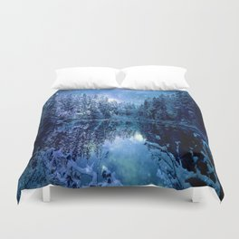 A Cold Winter's Night : Turquoise Teal Blue Winter Wonderland Duvet Cover