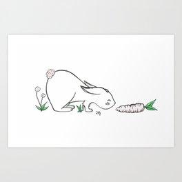 Rabbit finds carrot Art Print