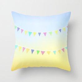 Pastel Bunting Throw Pillow