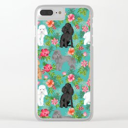 Toy Poodle dog breed pet portraits floral flowers dog pattern custom dog lover art Clear iPhone Case